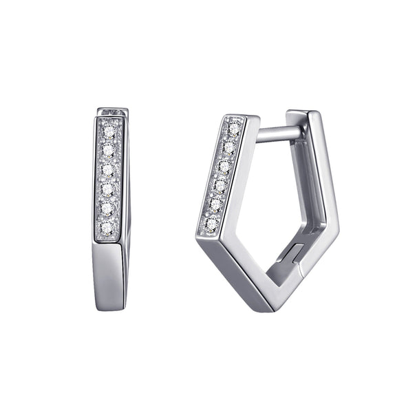 Silver Geometric Hoop Earrings Created with Swarovski® Crystals