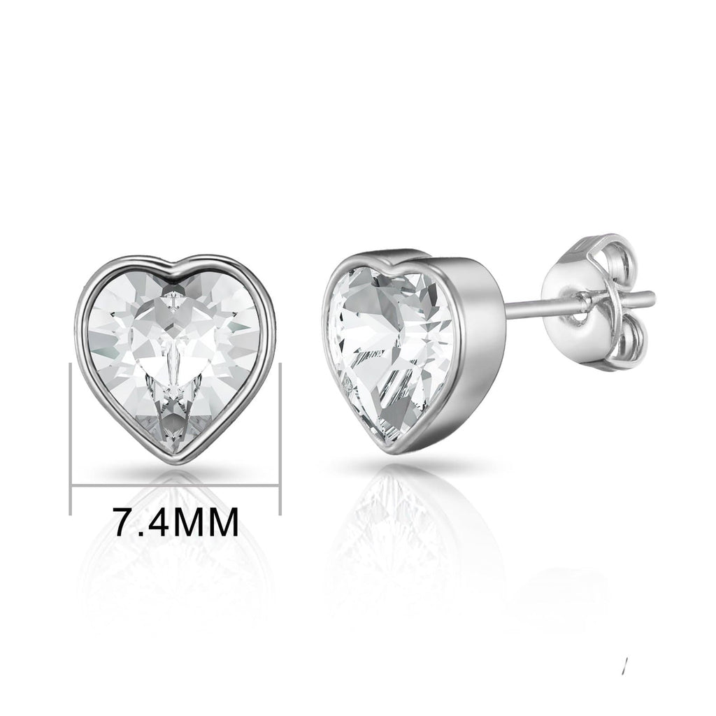 Silver Bezel set Heart Earrings Created with Swarovski® Crystals