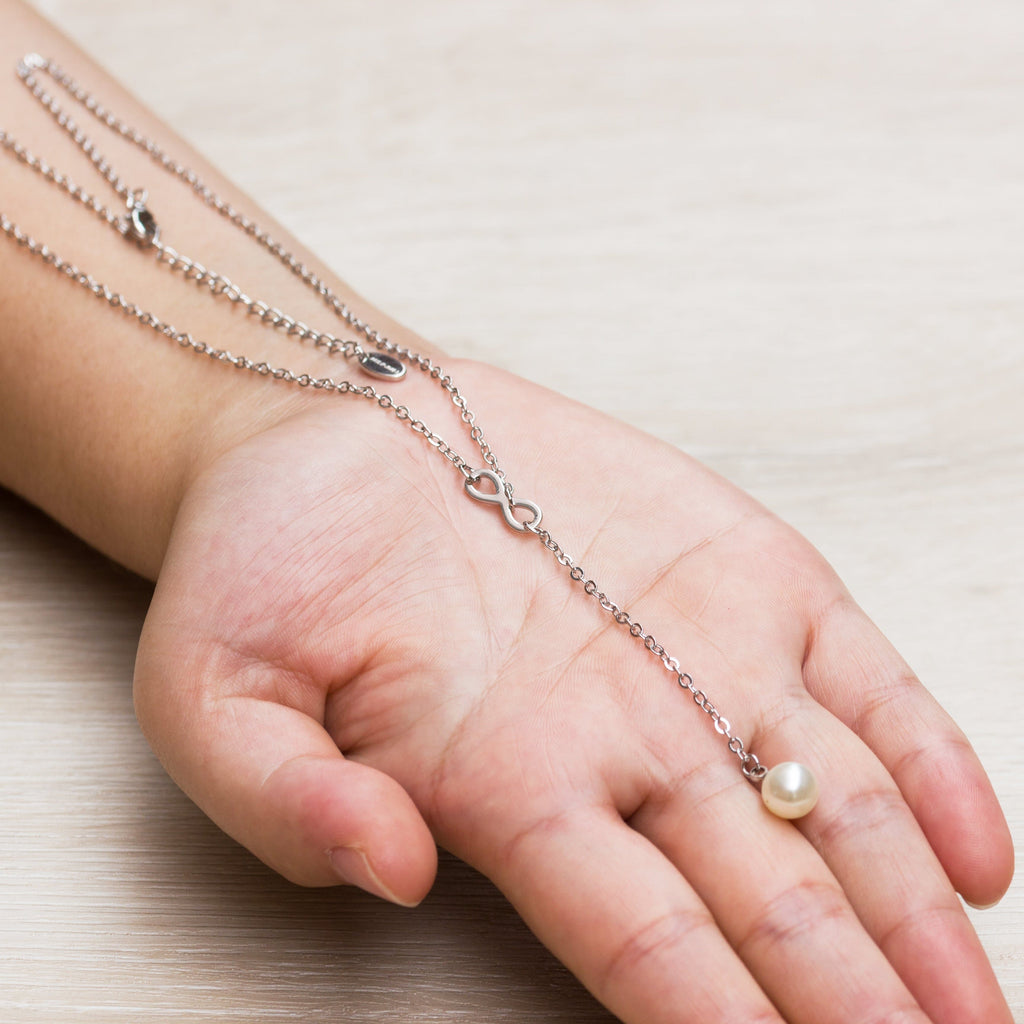 Silver Infinity Pearl Necklace