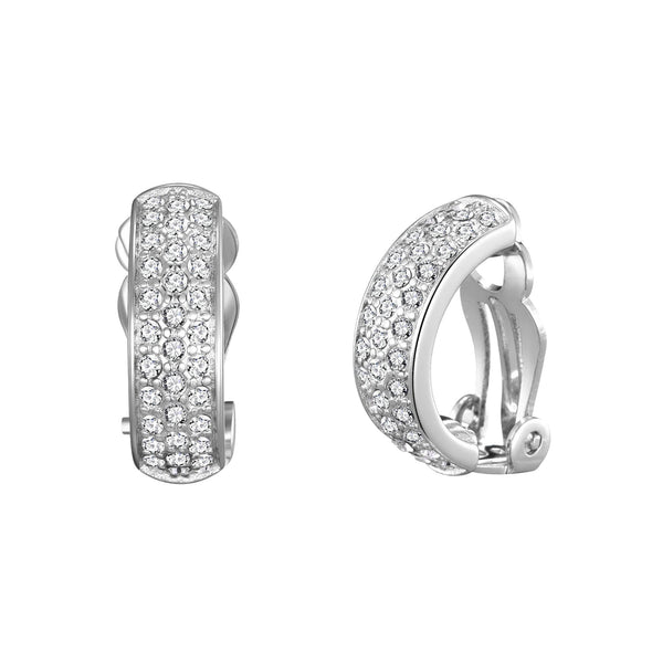 Silver Pave Clip On Earrings Created with Swarovski® Crystals