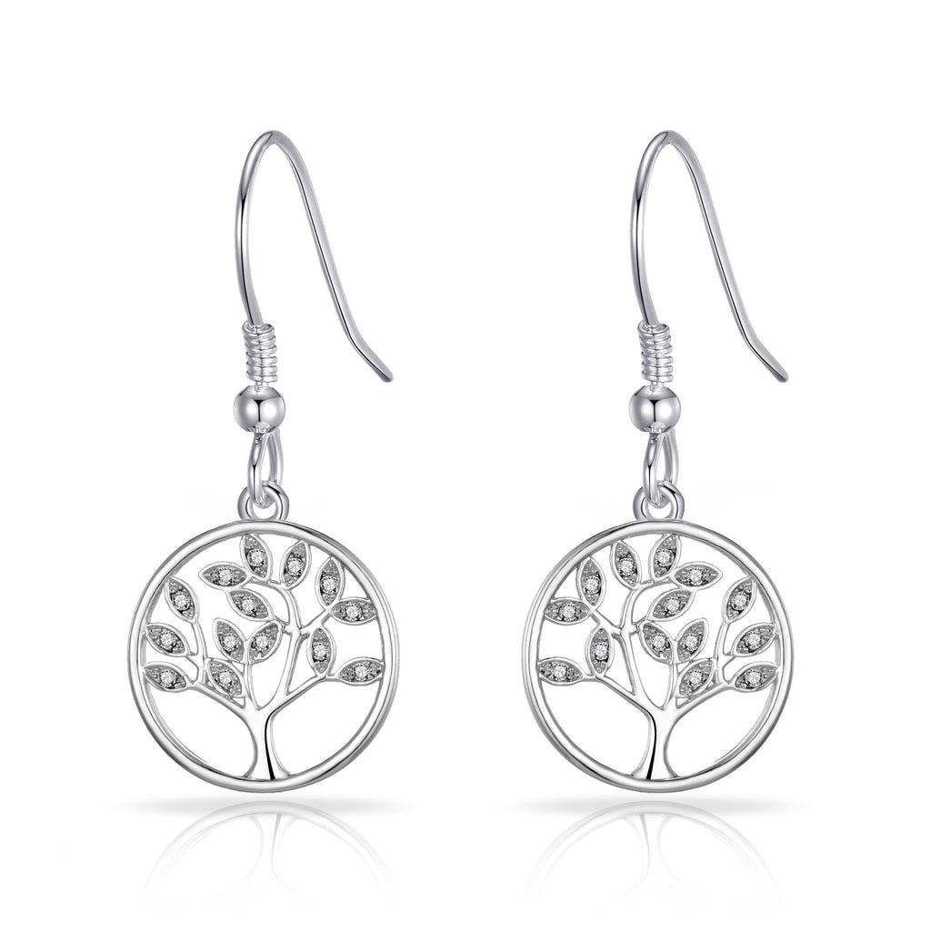Silver Tree of Life Drop Earrings Created with Crystals from Swarovski®