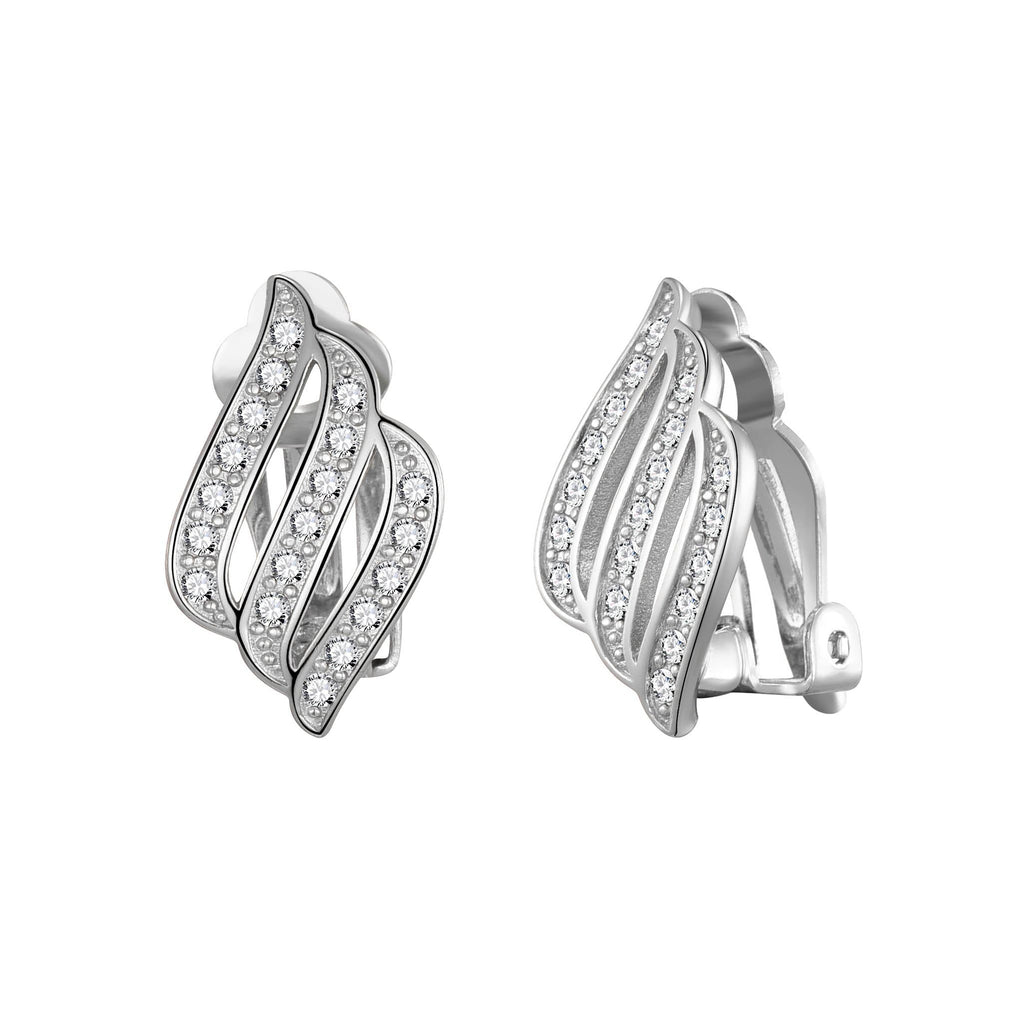 Silver Triple Row Clip On Earrings Created with Swarovski® Crystals