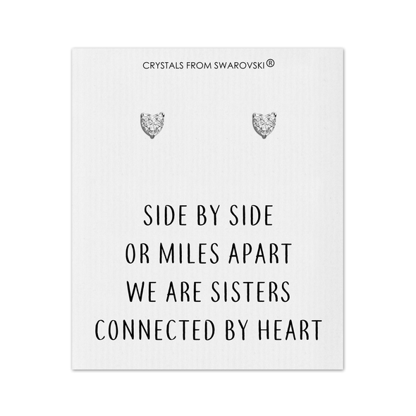 Sister Heart Earrings with Quote Card Created with Swarovski® Crystals