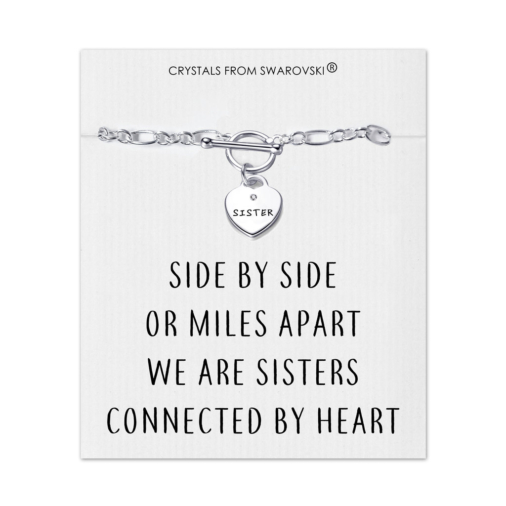 Sister Charm Bracelet with Quote Card Created with Swarovski® Crystals