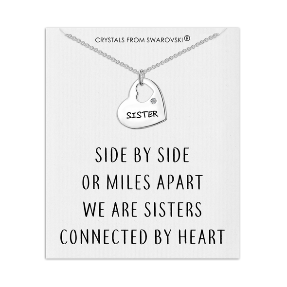 Sister Heart Necklace with Quote Card Created with Swarovski® Crystals