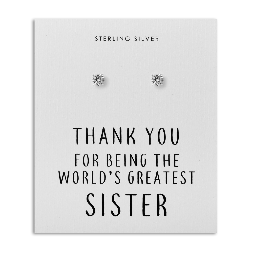 Sterling Silver World's Greatest Sister Crystal Earrings