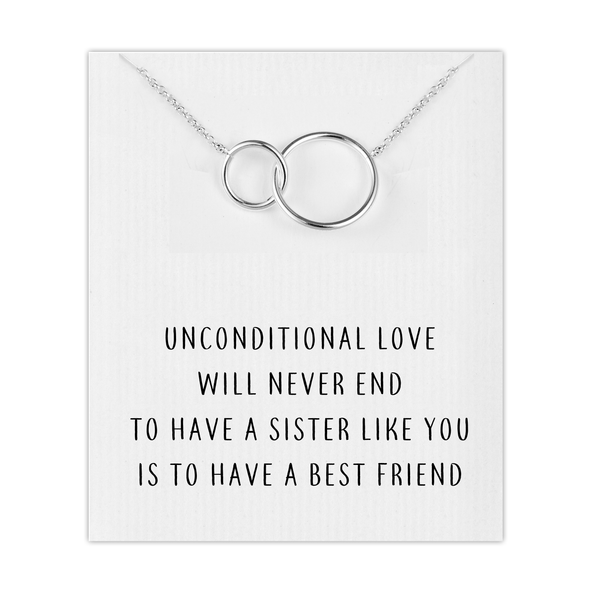 Silver Link Sister Necklace with Quote Card