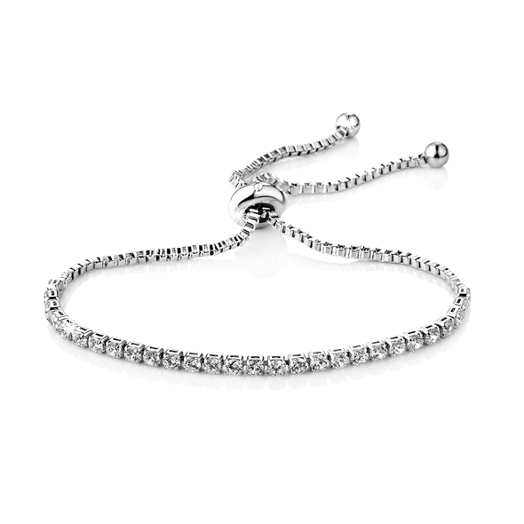 Silver Solitaire Friendship Bracelet Created with Swarovski Crystals