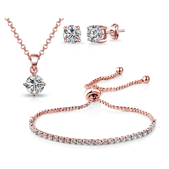 Rose Gold-Tone Solitaire Friendship Set