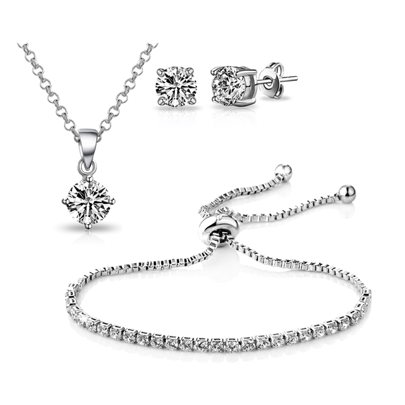 Silver Solitaire Friendship Set Created with Swarovski Crystals