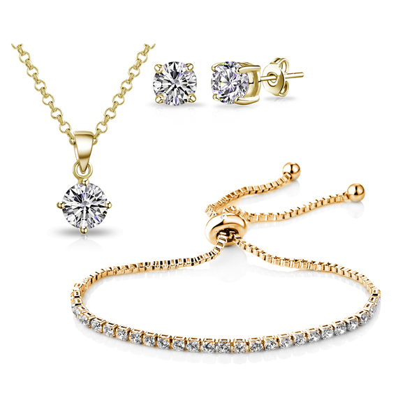 Gold Solitaire Friendship Set Created with Swarovski Crystals