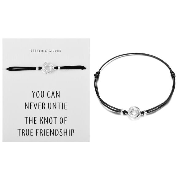 Sterling Silver Knot Quote Bracelet