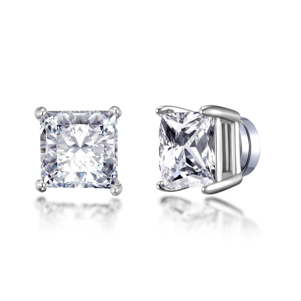 Silver Square Magnetic Clip On Stud Earrings Created with Swarovski® Crystals