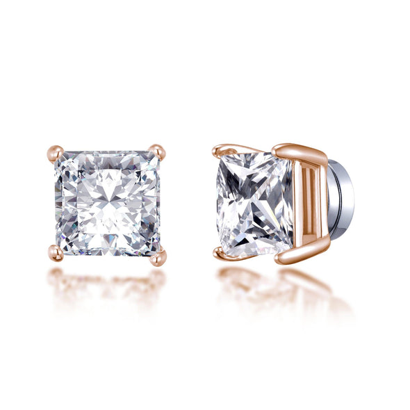 Rose Gold Square Magnetic Clip On Stud Earrings Created with Swarovski® Crystals