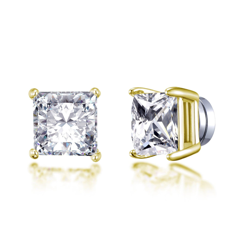Gold Square Magnetic Clip On Stud Earrings Created with Swarovski® Crystals