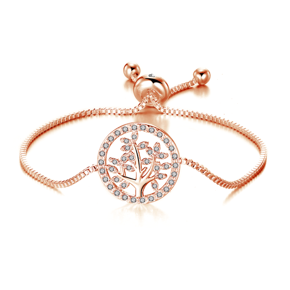Rose Gold Plated Tree of Life Bracelet Created with Swarovski Crystals