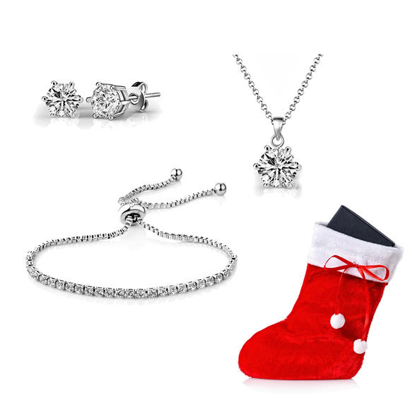 Silver Plated Christmas Gift Set Created with Swarovski Crystals