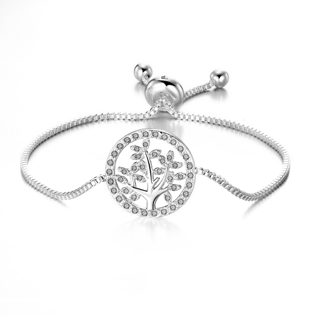 Silver Tree of Life Bracelet Created with Swarovski Crystals