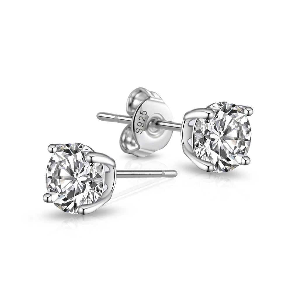 Sterling Silver 5mm Crystal World's Greatest Girlfriend Earrings
