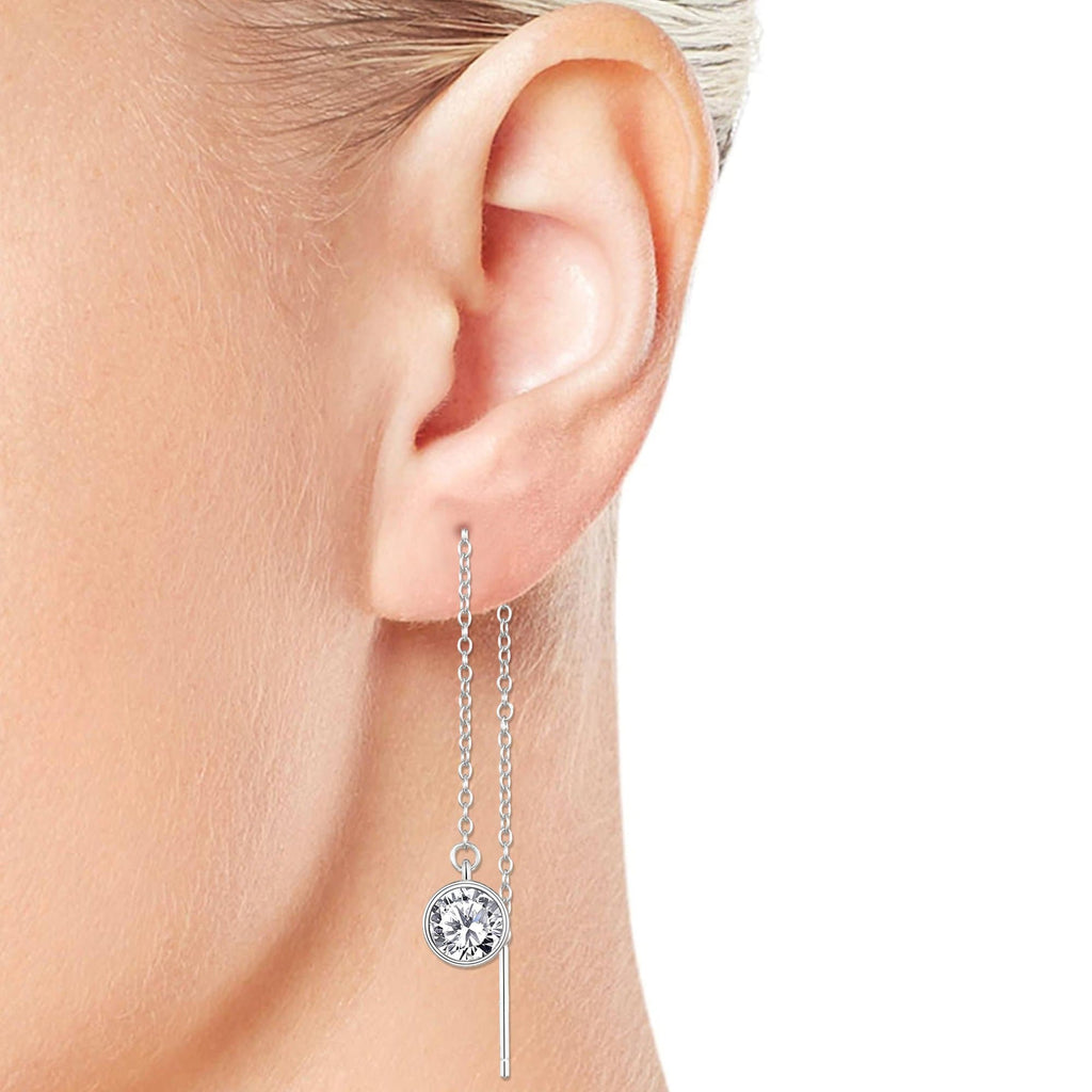 Sterling Silver Thread Earrings Created with Swarovski® Crystals