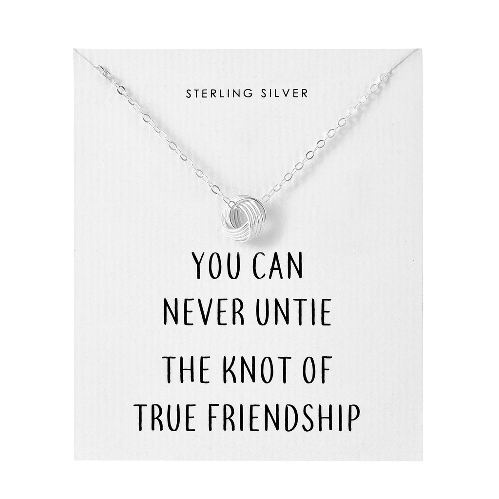 Sterling Silver Friendship Quote Knot Necklace