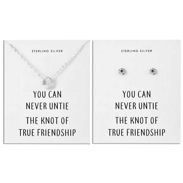 Sterling Silver Friendship Quote Knot Set