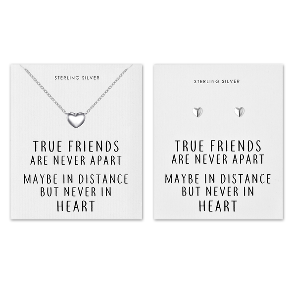 Sterling Silver Friendship Quote Heart Set
