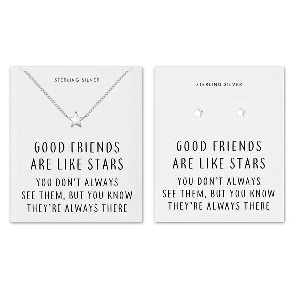 Sterling Silver Friendship Quote Star Set