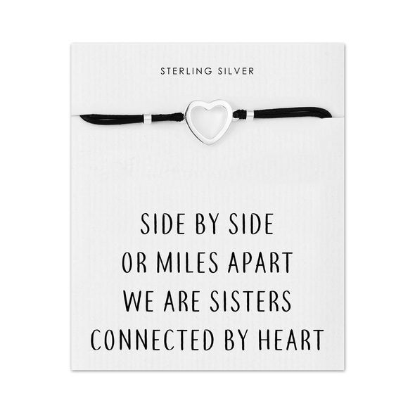 Sterling Silver Sister Heart Bracelet with Quote Card