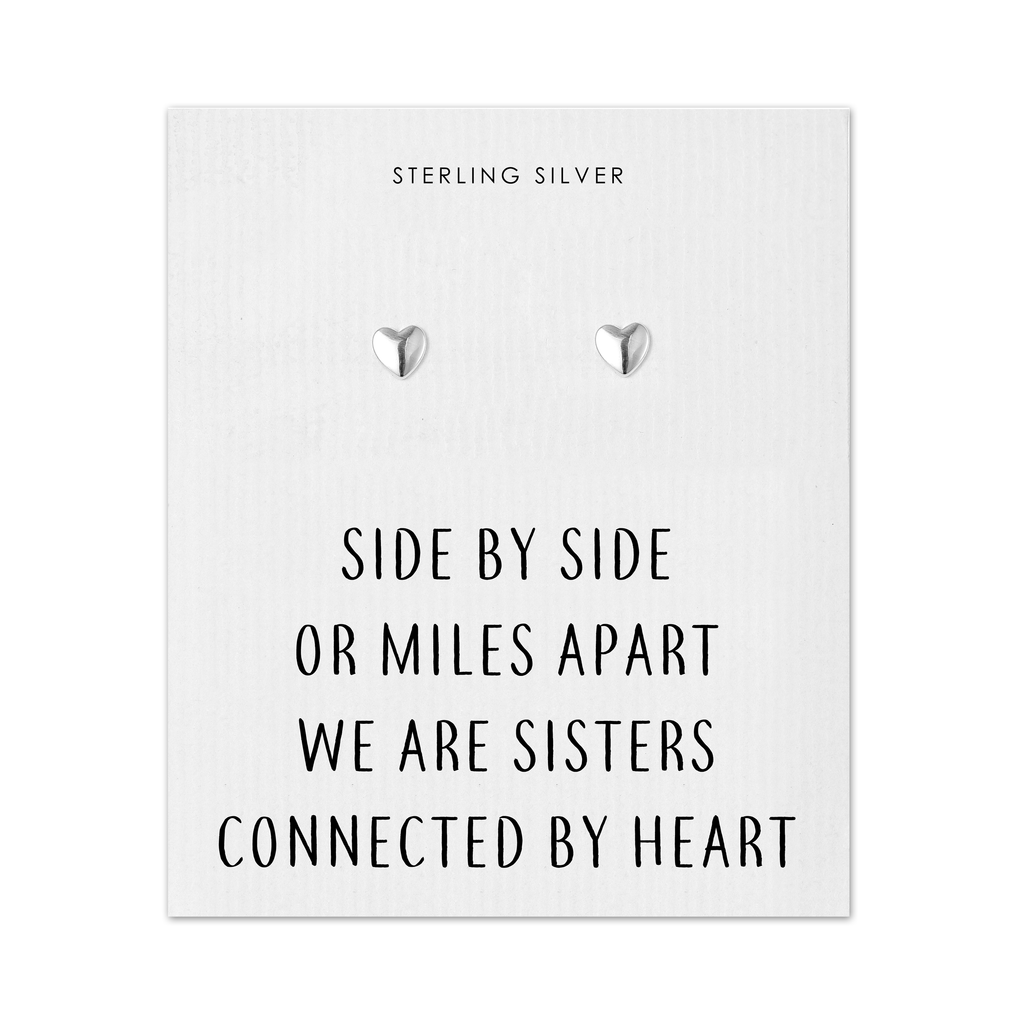Sterling Silver Sister Heart Earrings with Quote Card