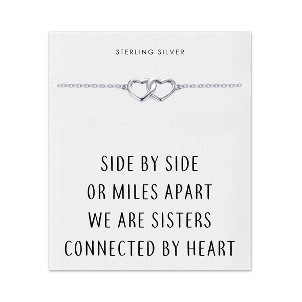 Sterling Silver Sister Heart Link Bracelet with Quote Card