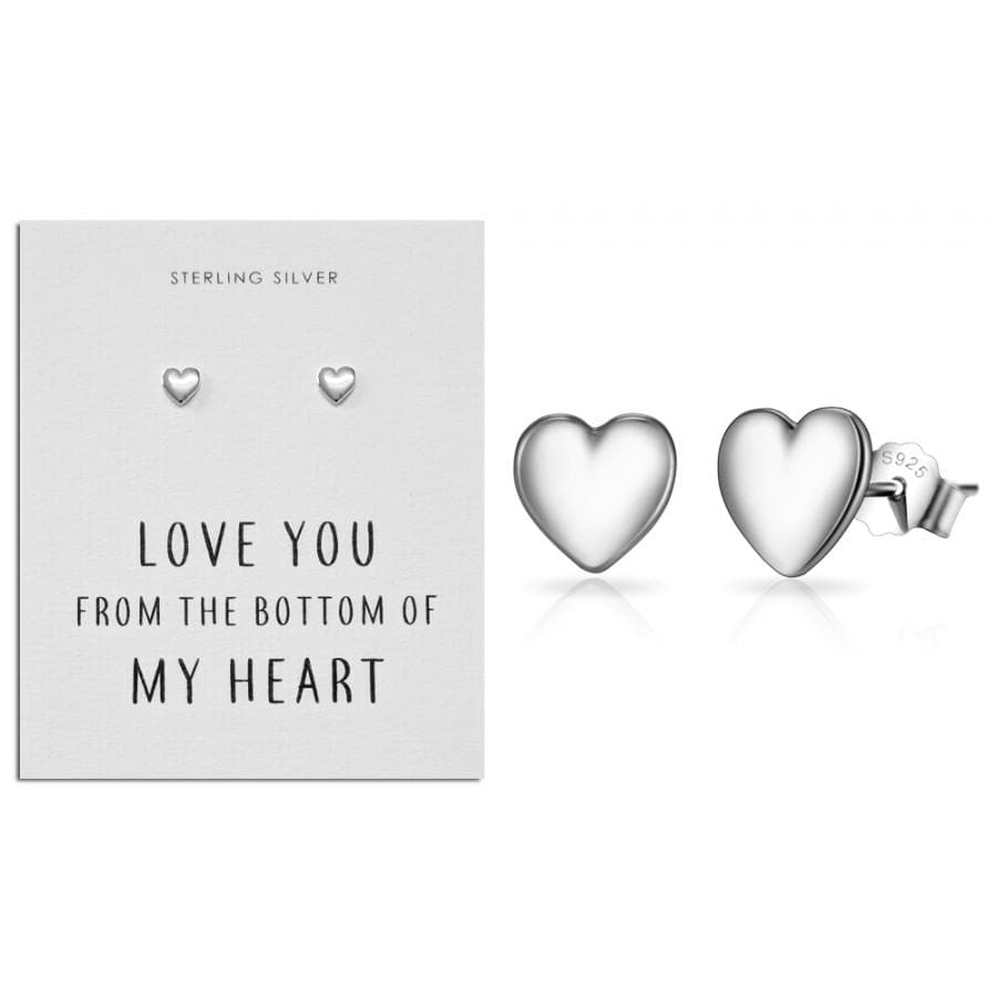 Sterling Silver Heart Love Quote Earrings