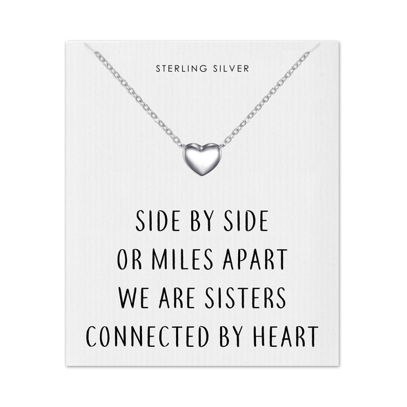 Sterling Silver Sister Heart Necklace with Quote Card