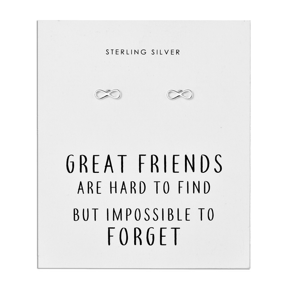 Sterling Silver Infinity Friendship Quote Earrings