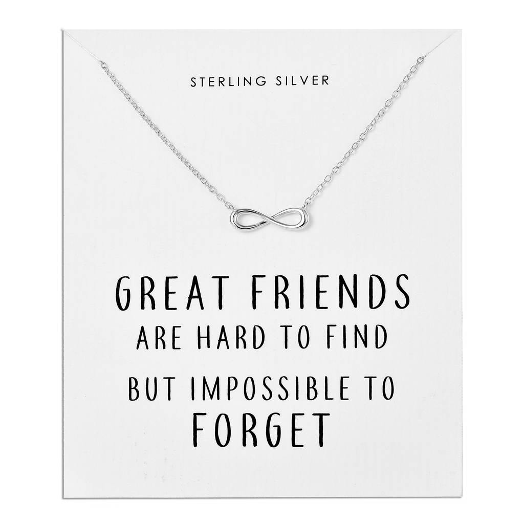 sterling silver infinity friendship quote necklace by philip jones