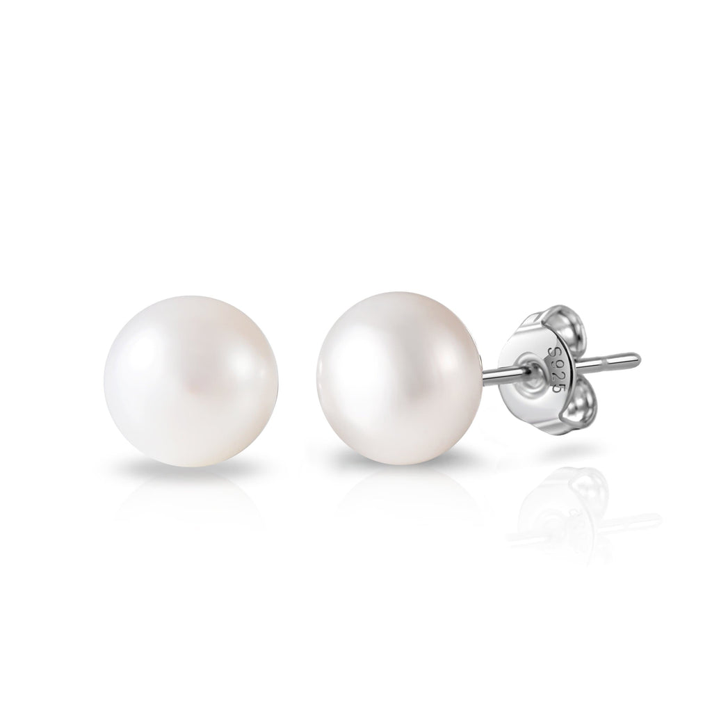 Sterling Silver World's Greatest Teacher Pearl Earrings