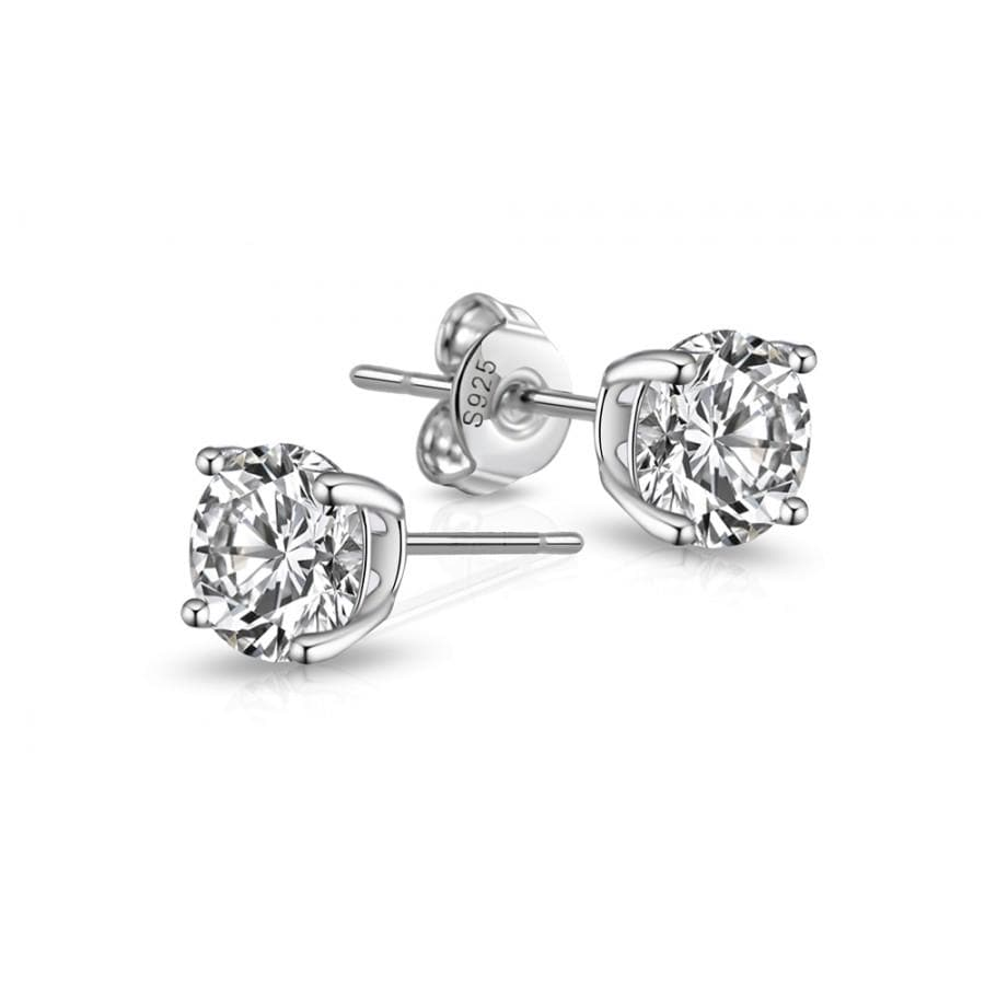 Sterling Silver 5mm Round CZ Earrings