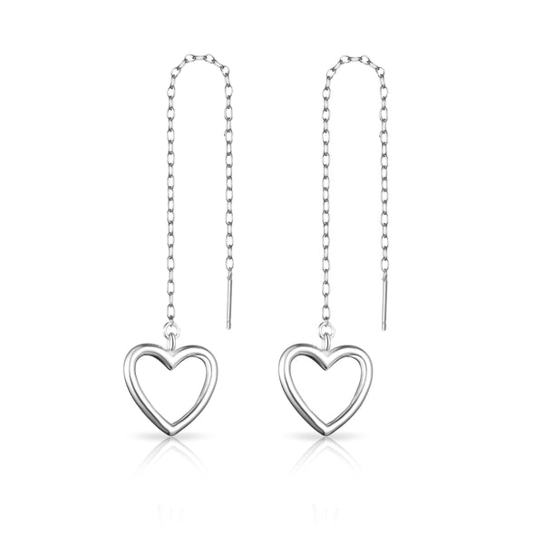 Sterling Silver Heart Thread Earrings