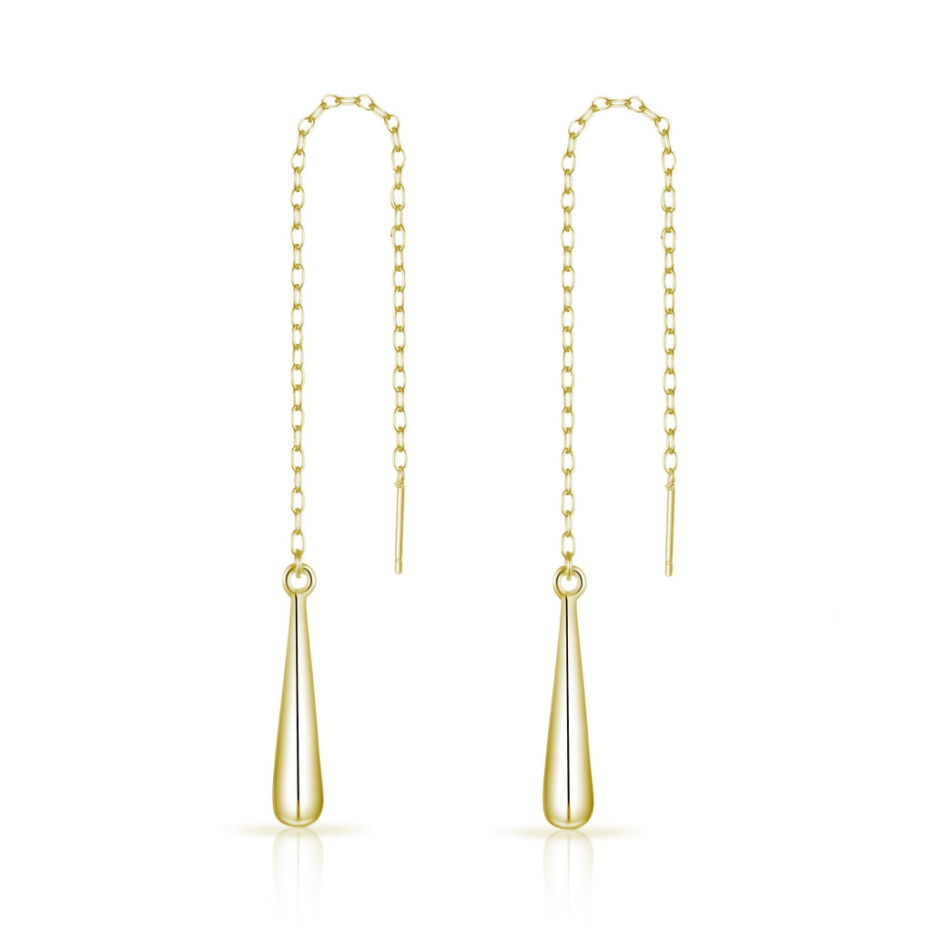 Gold Sterling Silver Teardrop Thread Earrings