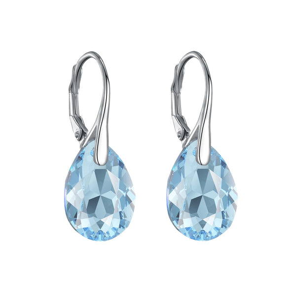 Sterling Silver Aquamarine Drop Earrings Created with Swarovski® Crystals