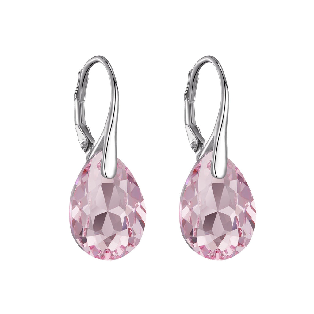 Sterling Silver Light Rose Drop Earrings Created with Swarovski® Crystals