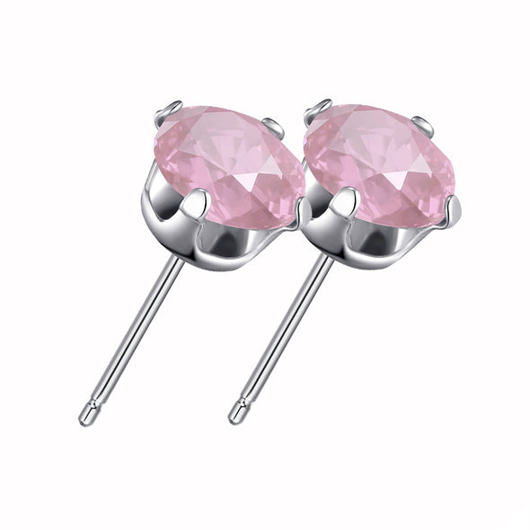 Sterling Silver Light Rose Earrings Created with Swarovski® Crystals