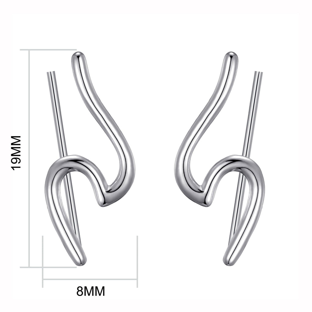 Sterling Silver Wave Climber Earrings