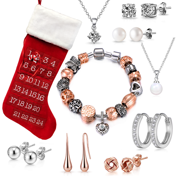 Two Tone Charm Bracelet Stocking Created with Swarovski® Crystals