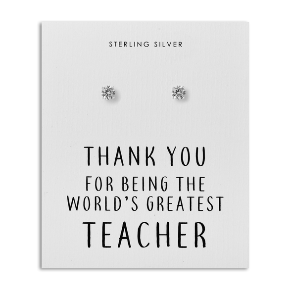 Sterling Silver 5mm CZ Earrings - World's Greatest Teacher