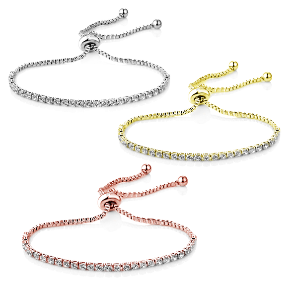 Set of Three Solitaire Friendship Bracelet Created with Swarovski® Crystals