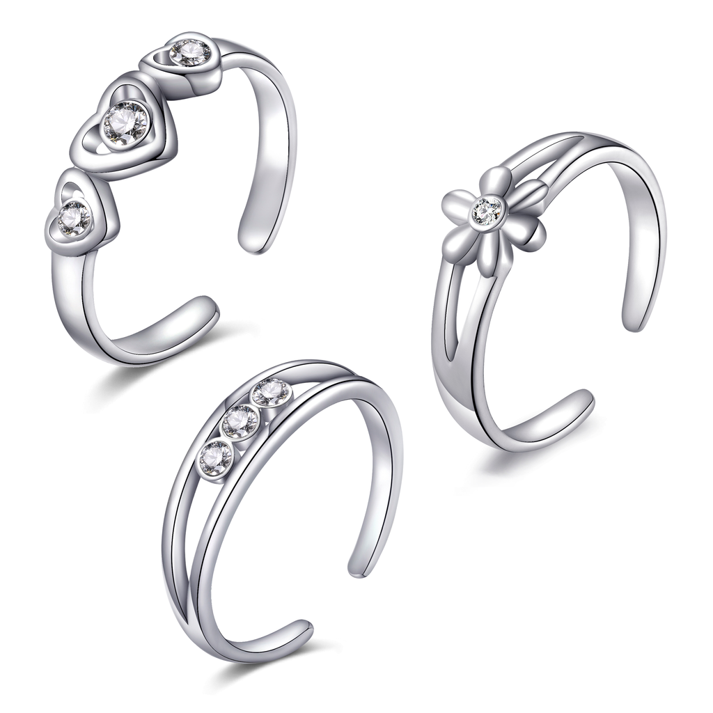 Set of Three Silver Toe Rings Created with Swarovski® Crystals
