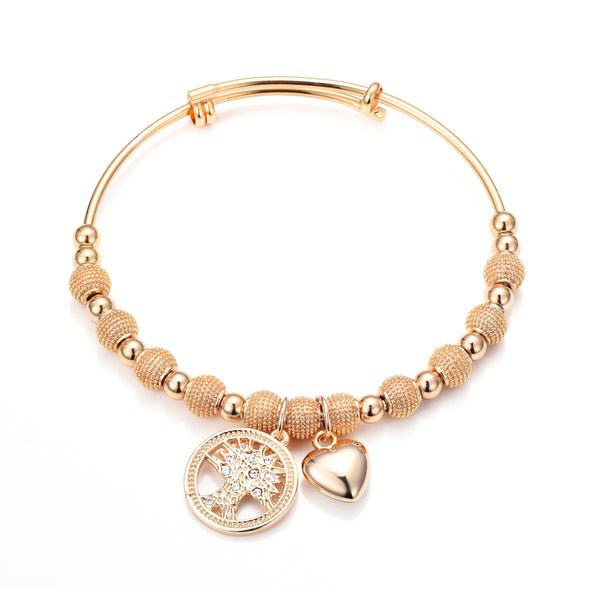 Rose Gold-Tone Tree of Life Bangle