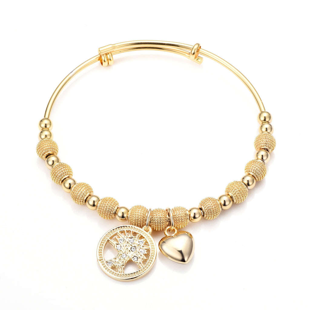 Gold Tree of Life Bangle Created with Swarovski Crystals