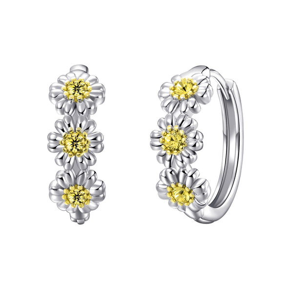 Triple Crystal Daisy Hoop Earrings Created with Swarovski® Crystals